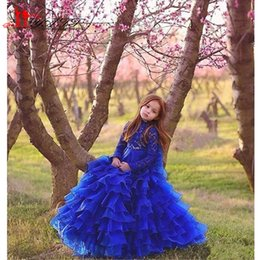 Wholesale Lace Cupcake Collars - Long Cupcake Little Girls Pageant Dresses Royal Blue Tiered Ruffles Vintage Flower Girl Dress Lace High Neck Long Sleeves Kids Dress