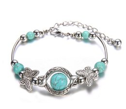 Wholesale Silver Bracelets Butterfly - Wholesale-New Tibetan Silver Color Turquoise Bracelets & Bangles Inlay Butterfly Bead Nation Bohemian Bracelets For Women Fine Jewelry
