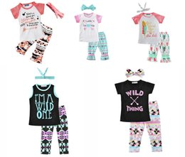 Wholesale 2017 Newest Girls Childrens Clothing Sets Short Sleeve tshirts Printed Pants Piece Set Letters Arrow Kids Clothes Suits Boutique Clothing