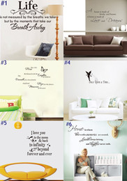 Wholesale Mixed Quotes - Mixed Order 66 Styles Hot PVC Lettering Quote Wall Stickers Home Decor Morden Art Wallpapers For Living Room Bedroom Nursery and Kids Room