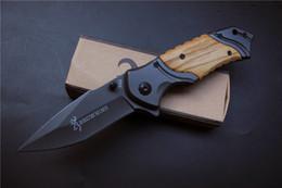Wholesale Defense Tools - Browning X49 Tactical Folding Knife Steel Blade Wood Handle Titanium Pocket Survival Knives Huntting knife Fishing EDC Tool