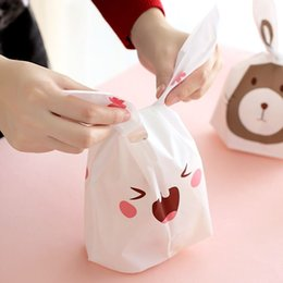 Wholesale Cookies Bunny - Cute Easter Bunny Cookies Bag 50pcs Wedding Decoration Kawaii Rabbit Ear Plastic Candy Bag Easter Decorations For Home