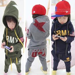 Wholesale Hoodies Wholesale Usa - 2017 Autumn Boys Tracksuit Clothes Sets Hoodies Sweatshirt + Pants Sport Suit Children Outfits Kid Clothing Girl Jacket USA Army