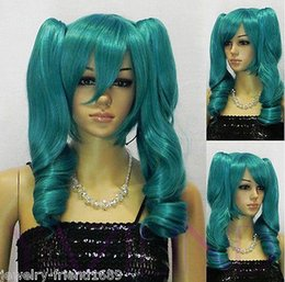 Wholesale Short Dark Green Wig - Free Shipping>>New wig Cosplay Short Dark Green wig Heat Resistant Wig + Two Ponytails