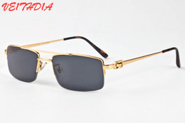 Wholesale Gold Mirrored Aviator Sunglasses - 2018 Buffalo Horn Sunglasses For Men Night Vision Gold Frame Glasses Semi Rimless Sun glasses Gradient Sun glasses Aviator Sunglasses