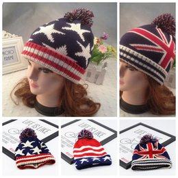 Wholesale Kids Hats Fashion Star - 3 Styles Autumn Winter Hat Children Kids Flag Cotton Beanies Cap Pom Pom Ball Knitted Beanies Stripe and Stars Hats CCA7507 20pcs