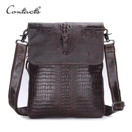 Wholesale Men S Casual Shoulder Bag - Nice- CONTACTS Genuine Leather Men Bags Crossbody Bag Men Cow Leather Alligator Pattern Mens Messenger Bags Causal Shoulder