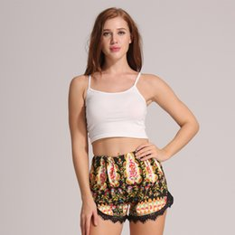 Wholesale Ethnic Pants Woman - Fashion Floral Print shorts lace Beach Casual Elastic Waist hot shorts Women Boho Ethnic Short Pants Femme Summer