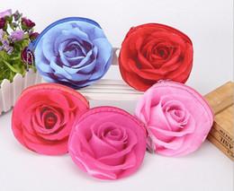 Wholesale Rose Wallets Purses - 3D Florals Rose Children Grils Plush Coin Purse Zip Change Purse Mini Wallet Bag Gifts