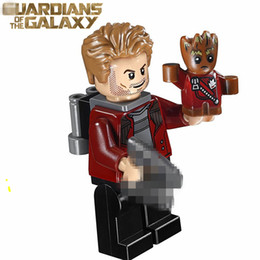 Wholesale Super Lord - WholeSale 20pcs Star-Lord with Baby Groot Guardians of the Galaxy SUPER HEROES Avengers DIY Minifigures Assemble Building Blocks Kids Toys