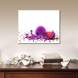 Wholesale Canvas Paintings For Christmas - octopus purple red heart Canvas Arts Pictures For office Decor Morden Animal Wall Pictures and poster printed on canvas Christmas Gifts