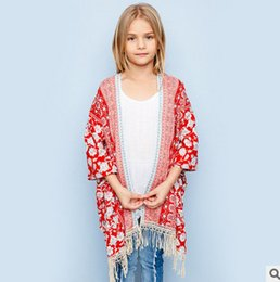 Wholesale Girls Shirt Cardigan - Big Girls cardigan children floral printed shirt kids hollow tassel lace coat 2017 Bohemia style Girls summer clothings 7-14T T3086