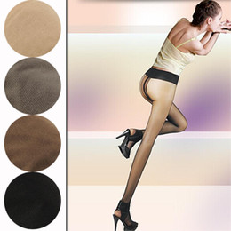 Wholesale Pantyhose T - Wholesale- Ultra-thin Glossy Solid Color Pantyhose Women's Sexy Ultra Thin Sheer T Crotch Nude Pantyhose Stockings Tights