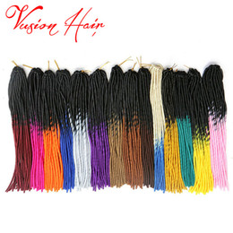 613 hair color braid Promo Codes - Two Color Faux Locs Crochet Hair Extensions 20 inch 20 strands pack Ombre Kanekalon Braiding Hair Goddess Faux Locs Crochet Hair