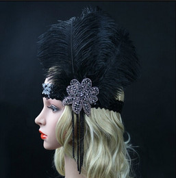 Wholesale Black Feather Headpieces - Black Ostrich Rhinestone Feather Headpiece Vintage Party Wedding Headband Flapper 1920s Great Gatsby Hot Hair Band
