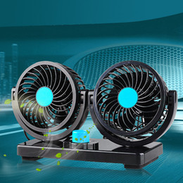 Wholesale Car Cooler Fan - 12V Mini Electric Car Fan Low Noise Summer Car Air Conditioner 360 Degree Rotating 2 Gears Adjustable Car Fan Air Cooling Fan