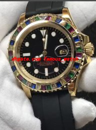 Wholesale rainbow rubber bracelets - Luxury Wristwatch Rubber Bracelet 40MM Rainbow Diamond Watch Automatic Men's Watches New Arrival