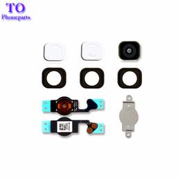 Wholesale Rubber Button Cap - 50Pcs New Black For Iphone 5 5G 5C Home Button Replacement Key Cap + Flex Cable + Rubber Gasket + Metal Piece