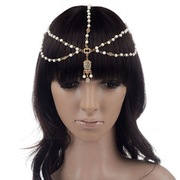 Wholesale Boho Head Chain - 2 Styles Multi Layers Gold Plated Head Chains For Women Ladies Metal Tassel Sequins Beads Boho Head Piece Hair Jewelry