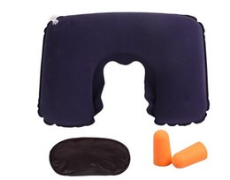 Wholesale Eye Shade Mask Blinder - 3 in 1 Outdoor Camping Car Airplane Travel Kit Inflatable Neck Pillow Cushion Support+Eye Shade Mask Blinder+Ear Plugs