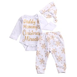 Wholesale Snowflake Clothing Baby - Wholesale- 2016 Christmas Baby Girl Boy Clothes Snowflake Top Romper Bodysuit Pants Legging Hat Outfits Kids Clothing Set 0-18M