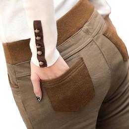 pantalones negros de talla grande Rebajas Plus Size 4XL Boot Cut Pants Otoño Invierno Cálido Pantalones Cintura Elástica Slim Casual Negro / Caqui / Leggings Coffe Pantalones 2016 A587