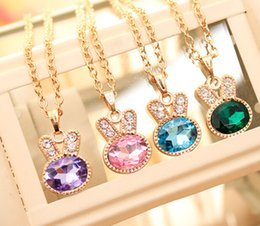 Wholesale Rabbit Head Necklace - Clear Rhinestone Crystal Diamond-encrusted rabbit head necklace with female collarbone - Free Shipping + Free Gift