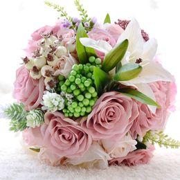Wholesale Tulip Fabric Flowers - Peach Pink Artificial Fabric Rosette Flowers Wedding Bouquets 2016 Romantic Wedding brooch ramo de novia Wedding Accessies