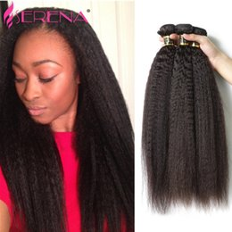 Wholesale Yaki Hair Braids - Brazilian Virgin Hair 30 Inch 3 Bundles Kinky Straight 8A Coarse Yaki Straight Jet Black Weave Italian Yaki Human Braiding Hair