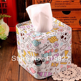 Wholesale Wholesale Printed Paper Napkins - Wholesale- Free Shipping!2014new Candy design Square shape Tissue Box Metal Facial Paper Case Napkin Holder 2014new Fashion Sugar printing
