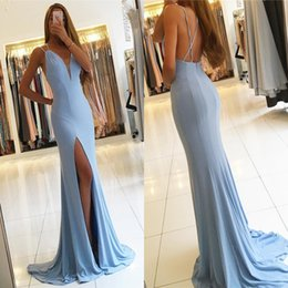 Wholesale Sexy Satin Baby - Sexy Spaghetti Straps Baby Blue Side Split Evening Dresses 2017 Trumpet V Neck Criss Cross Backless Long Prom Gowns Party Celebrity