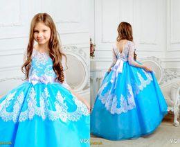 Wholesale Cheap Birthday Shirts - Blue Lace Bacelet Sleeves 2017 Flower Girl Dresses Vintage Kids Little Girl Wedding Dresses Cheap Beads Sash Pageant Dresses