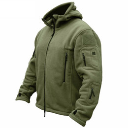 Wholesale tactical jacket hoodie - Winter Military Tactical Fleece Jacket Men Warm Polartec US Army Clothes Multiple Pockets Outerwear Casual Hoodie Coat Jackets