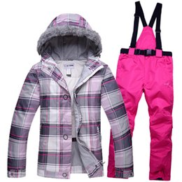 Wholesale Cheap Brown Jackets - Wholesale- Cheap Snow Clothing Womans Ski suit set outdoor skiing snowboard Costume thermal hat with hair jacket + bib pant Lady Clothes