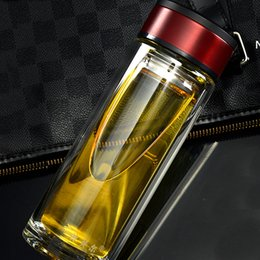 Wholesale Heat Resistant Glass Cups - Business Classic 300ML Glass Water Bottles tumbler cups With Tea Infuser Strainer Heat Resistant Travel Car Office Drinking Bottles