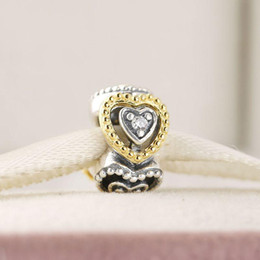 Wholesale Golden Spike Beads - Golden love interval charm beads 100% 925 Sterling-Silver-Jewelry Clear Symbols Bead DIY Bracelets Bangles Accessories
