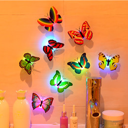 Wholesale Kids Butterfly Lamp - Wholesale- New 6 Pieces Novelty Toy Cute Color Random Send Butterfly Projection Lamp Creative Lovely Cartoon Baby Birthday Kids Gift