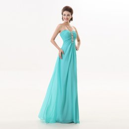 Wholesale Vintage Lake - 2017 New Arrival Elegant A Line Lake Blue Off Shoulder Sleeveless Chiffon Jewel Collar Custome Made Floor Length Cheap Prom Gowns