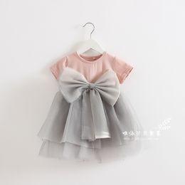 Wholesale Soft Cotton Baby Dresses - 2017 Children Summer Dress Girl Bownot Tulle Lace Tutu Dress Baby Girl Soft Cotton Princess Party Dress