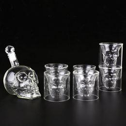 Wholesale Drink Cups - Wine Decanter Crystal Skull Stopper Skull Decanter Whiskey Glasses,Halloween Git,Transparent Skull Pirate Shot Glasses Drink Cocktail Beer
