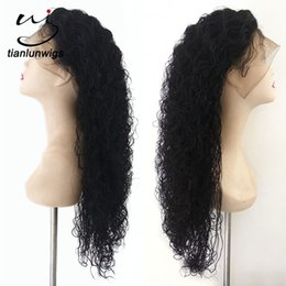 Wholesale Mongolian Baby Curl Hair - 24 inch spanish curl #1 color human hair full lace wig with baby hair, 100%unprocessed brazilian human hair lace front wig for sale