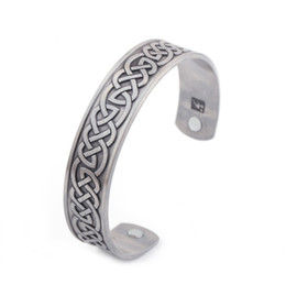 Wholesale Health Care Magnetic - Magnetic Health Care Jewelry Celtic Knot Style Open-ended Cuff Bangle Silver Plated Copper Wristband Bracelet Gifts