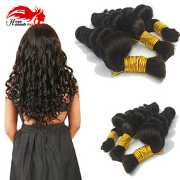 Wholesale Wholesale Bulk Virgin Indian Hair - Brazilian Virgin Human Hair Afro Loose Wave Bulk For Braiding 3Pcs Lot 150g Coarse Loose Wave Bulk Hair Extensions Hannah hair