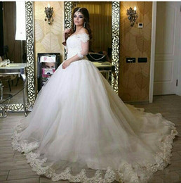 Wholesale Tulle Long Sleeved Bridal - 2017 Ball Gown Lace Wedding Dresses Off the Shoulder Sheer 3 4 Long Sleeved Chapel Train Tulle Bridal Gowns
