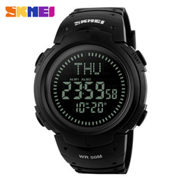 Wholesale World Time Alarm Clock - SKMEI Men Digital Outdoor Wristwatches World Time DST Compass Alarm Calendar Clock Relogio Masculino Sports Watches