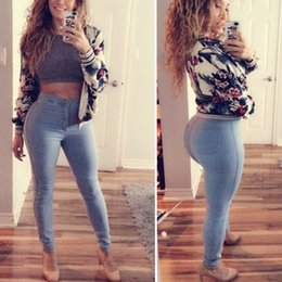 Wholesale Hot High Waisted Leggings - Hot Selling 2017 New Women's Light Blue Slim High Waisted Skinny Pencil Stretch Spandex Pants Trousers Leggings CL162