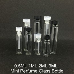 Wholesale Empty Dropper Bottles Glass - 0.5ML 1ML 2ML 3ML Clear Glass Perfume Bottle Mini Sample Size Cosmetic Empty Container Vial Tester Transparent For Sample