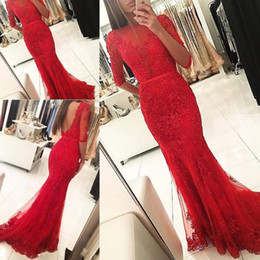 Wholesale jersey party dresses - 2018 Red Dresses Evening Wear Half Sleeves Mermaid Tulle Appliqued Lace Sheer Elegant Weddings Guest Prom Party Gowns
