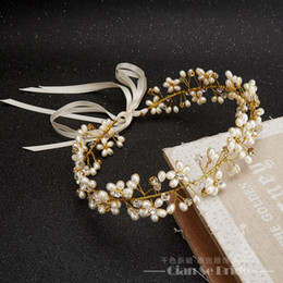 Wholesale Rhinestone Forehead Band - Gorgeous Handmade headband women crystal pearl jewelry forehead hair ornaments silk band bridal crown wedding accessories yuhan