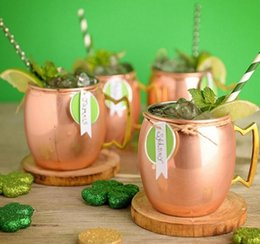 Wholesale drums cup - Moscow Mule Mug Stainless Steel Hammered Copper Mug for Beer Ice Coffee Tea Plating Hammered Drum Cocktail Drink Cups KKA1642